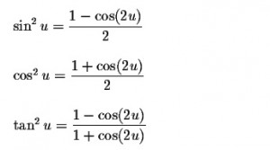 Power-Reducing Half Angle Formulas