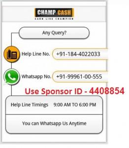 champcash contact, champcash, champcash hindi