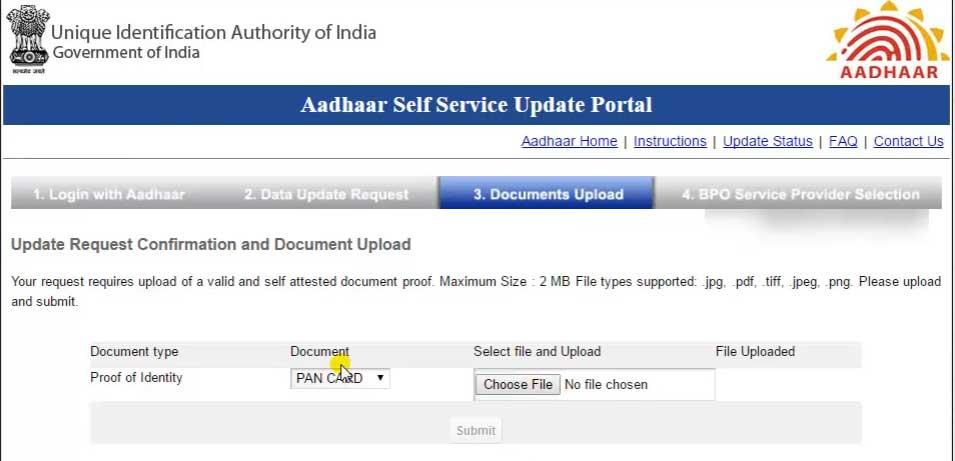 aadhar card name change