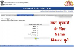 e aadhaar card name correction online,