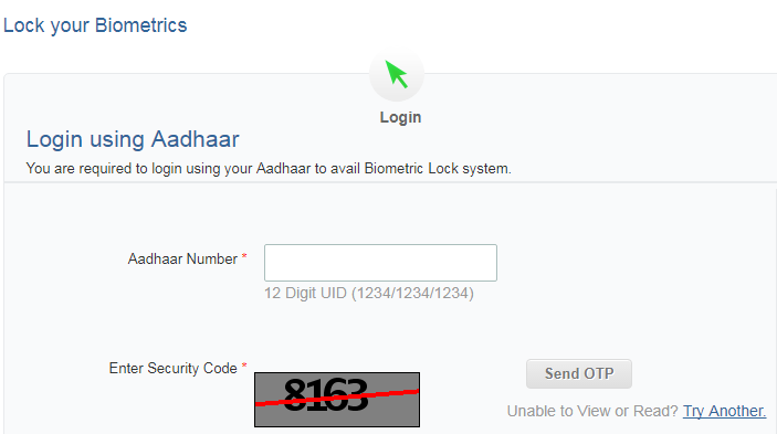 steps to lock or unlock aadhaar biometric data