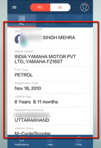 how to know vehicle owner name in india