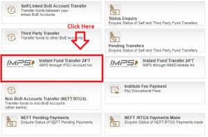 how to transfer money from bank of baroda internet banking